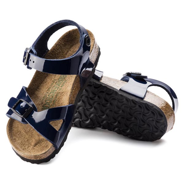 BIRKENSTOCK Rio Kids Dress Blue Birko-Flor Patent Outlet Store