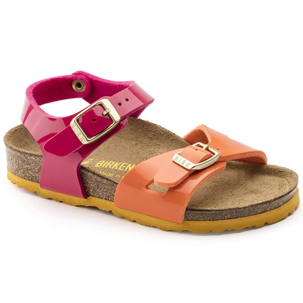 BIRKENSTOCK Rio Kids Tropical Orange Pink Birko-Flor Patent Outlet Store