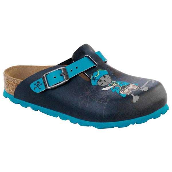 BIRKENSTOCK Boston Kids Pirat Cat and Mouse Blue Birko-Flor Nubuck Outlet Store