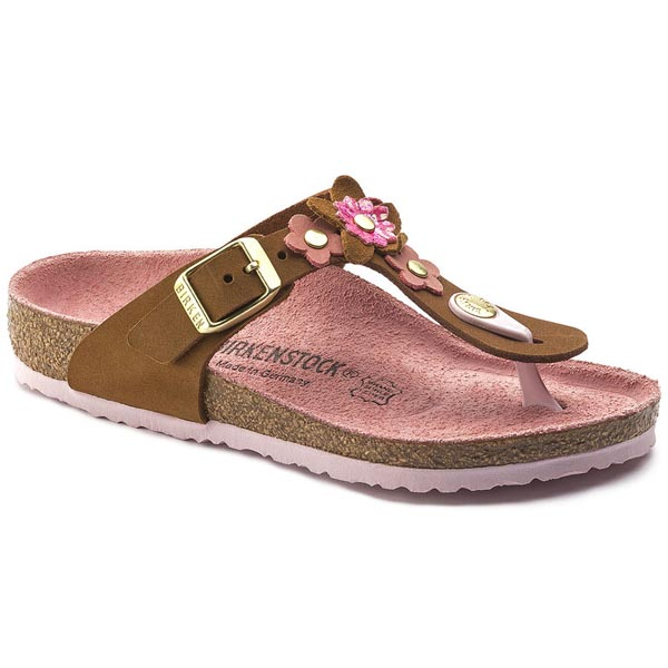 BIRKENSTOCK Gizeh Flowers Kids Dark Brown Nubuck Leather Outlet Store