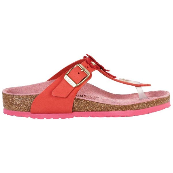 BIRKENSTOCK Gizeh Flowers Kids Natural Tea Rose Nubuck Leather Outlet Store