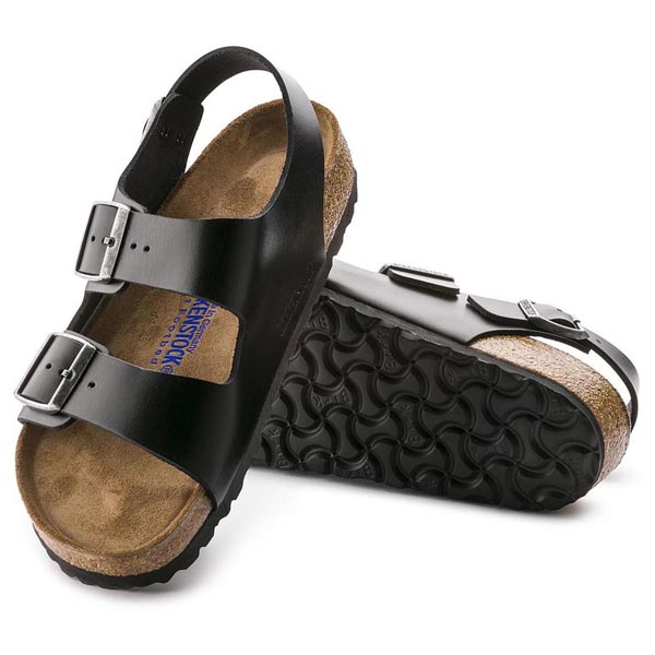 BIRKENSTOCK Milano Soft Footbed Amalfi Black Leather Outlet Store