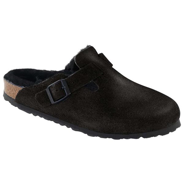 BIRKENSTOCK Boston Fell Black Suede Leather/Sheepskin Outlet Store