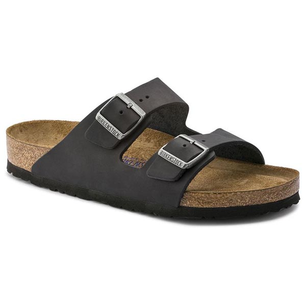 BIRKENSTOCK Arizona Black Oiled Leather Soft footbed Outlet Store