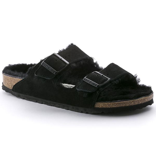 BIRKENSTOCK Arizona Shearling Lined Black Shearling/Suede Outlet Store