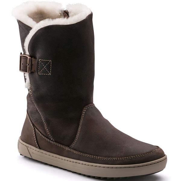 BIRKENSTOCK Woodbury Dark Brown Shearling/Suede Outlet Store