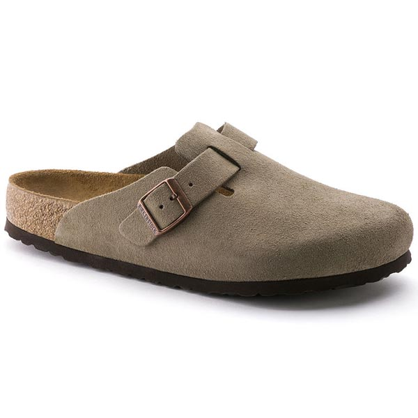 BIRKENSTOCK Boston Soft Footbed Taupe Suede Outlet Store