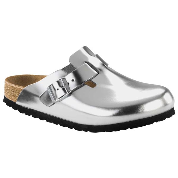 BIRKENSTOCK Boston Soft Footbed Silver Leather Outlet Store