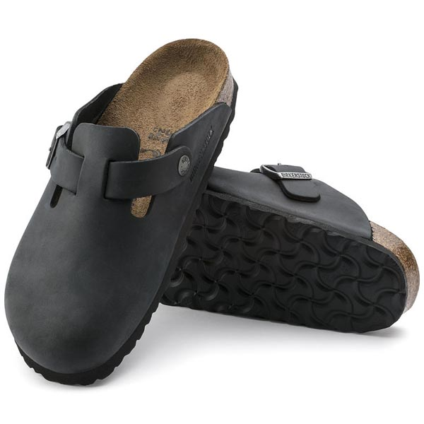 BIRKENSTOCK Boston Black Oiled Leather Outlet Store