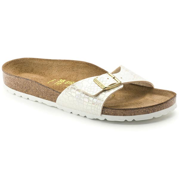 BIRKENSTOCK Madrid Shiny Snake Cream Birko-Flor Outlet Store
