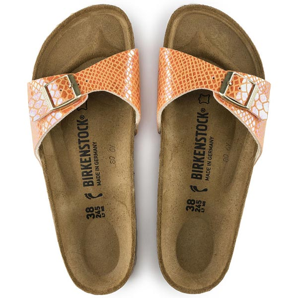 BIRKENSTOCK Madrid Shiny Snake Orange Birko-Flor Outlet Store