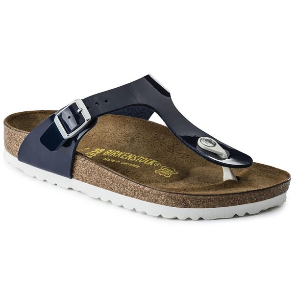 BIRKENSTOCK Gizeh Dress Blue Birko-Flor Patent Outlet Store