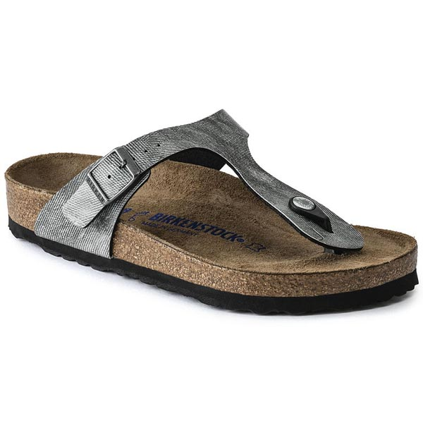 BIRKENSTOCK Gizeh Soft Footbed Jeans Washed Out Gray Birko-Flor Outlet Store