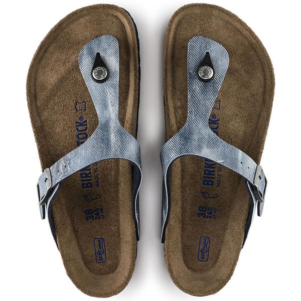 BIRKENSTOCK Gizeh Soft Footbed eans Washed Out Blue Birko-Flor Outlet Store