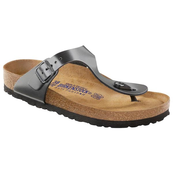 BIRKENSTOCK Gizeh Soft Footbed Metallic Anthracite Oiled Leather Outlet Store