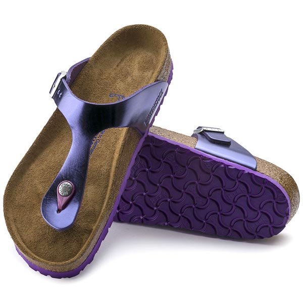 BIRKENSTOCK Gizeh Soft Footbed Metallic Violet Leather Outlet Store