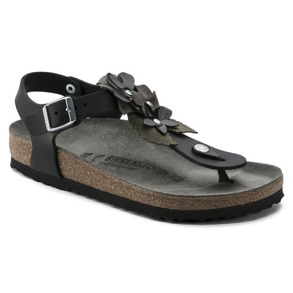 BIRKENSTOCK Kairo Flower Black Leather Outlet Store