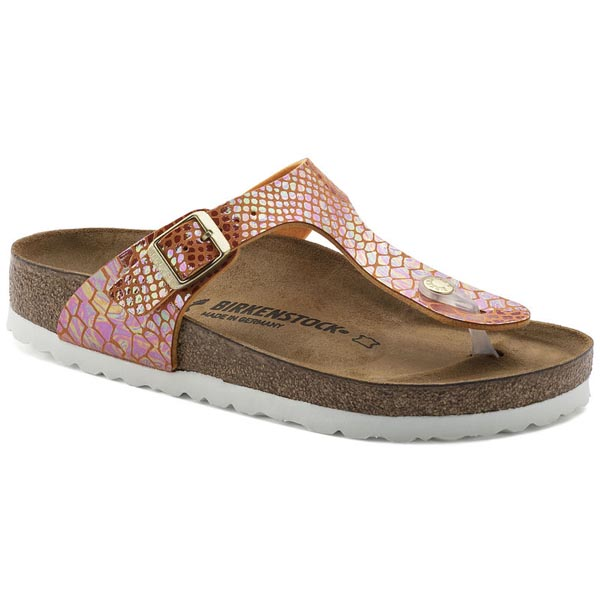 BIRKENSTOCK Gizeh Shiny Snake Orange Birko-Flor Outlet Store