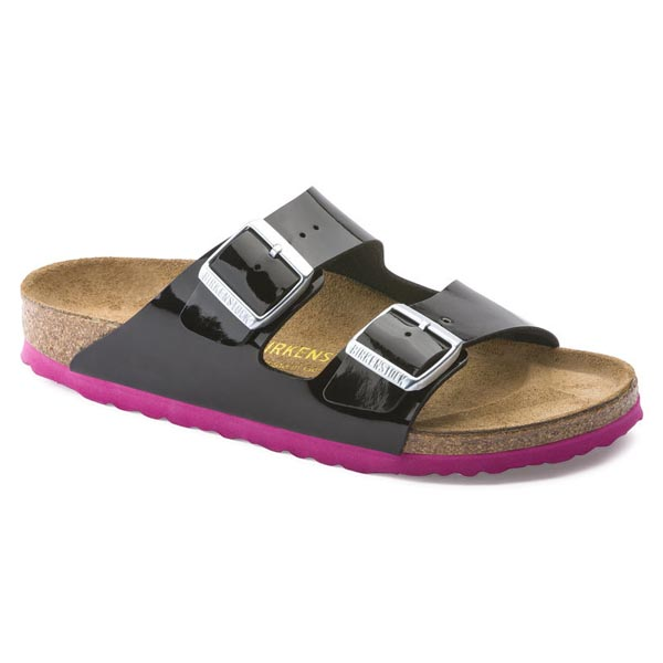 BIRKENSTOCK Arizona Black - pink sole Birko-Flor Patent Outlet Store