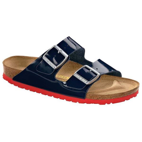 BIRKENSTOCK Arizona Dress Blue - red sole Birko-Flor Patent Outlet Store