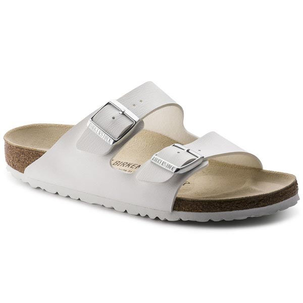 BIRKENSTOCK Arizona White - silver buckle Birko-Flor Outlet Store