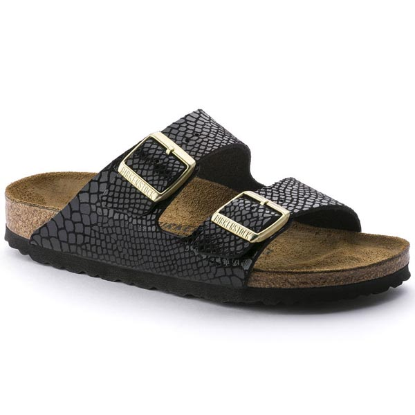 BIRKENSTOCK Arizona Shiny Snake Black Birko-Flor Outlet Store