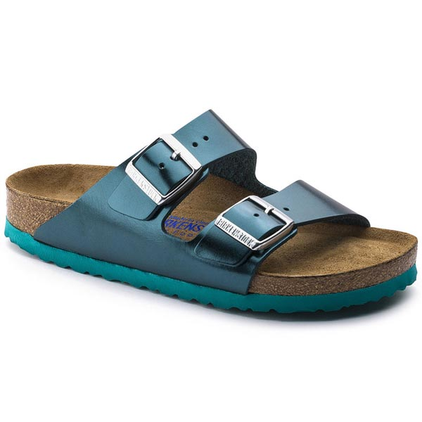 BIRKENSTOCK Arizona Soft Footbed Metallic Green Leather Outlet Store