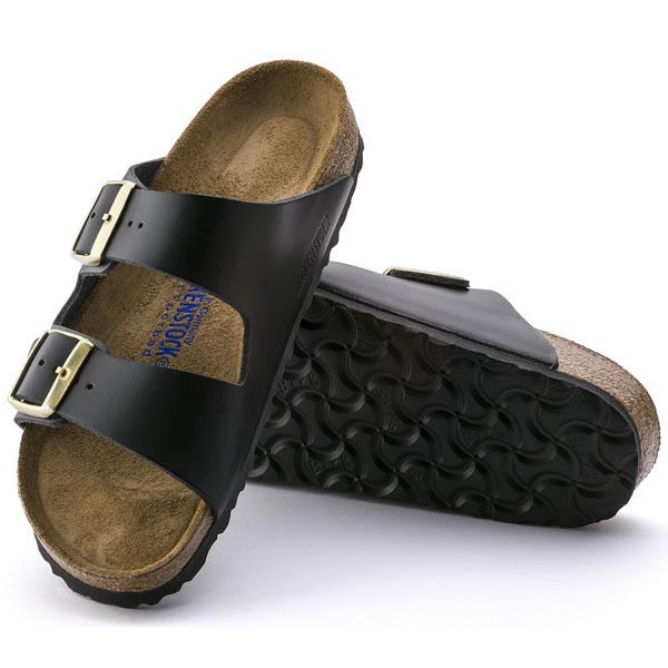 BIRKENSTOCK Arizona Soft Footbed Hunter Black Leather Outlet Store