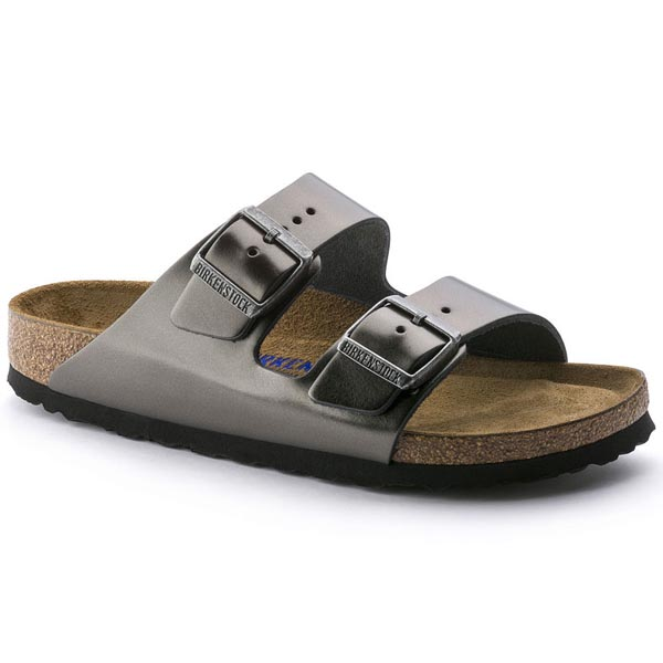 BIRKENSTOCK Arizona Soft Footbed Metallic Anthracite Leather Outlet Store