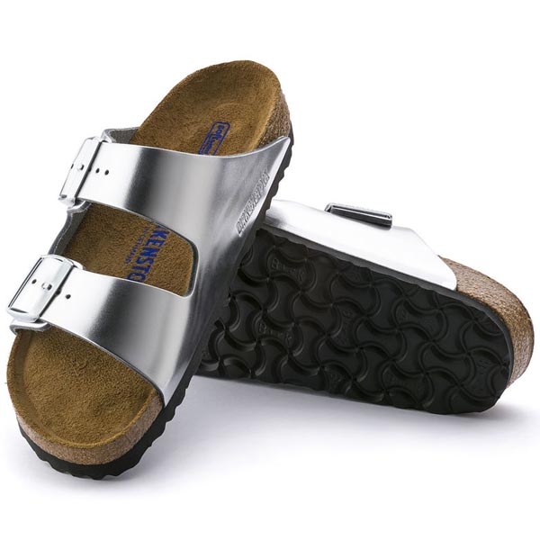 BIRKENSTOCK Arizona Soft Footbed Metallic Silver - black sole Leather Outlet Store