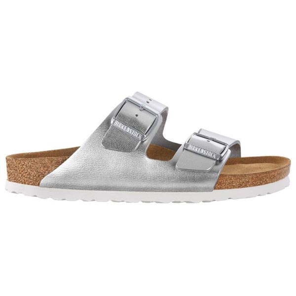 BIRKENSTOCK Arizona Soft Footbed Metallic Silver Leather Outlet Store