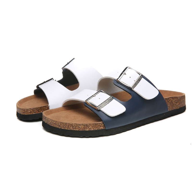 2018 Birkenstock 130 Leather Sandal White and blue